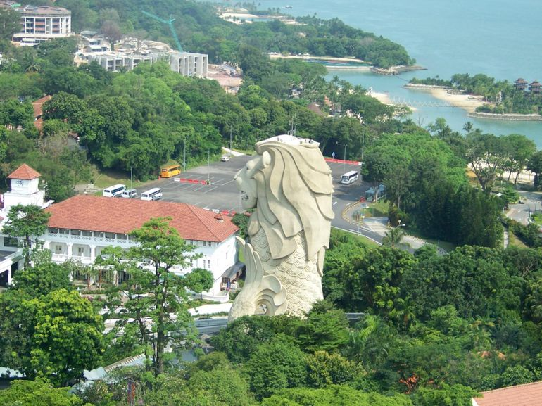View of Merlion from Cable Car - Singapore