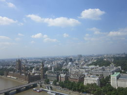 Here is a shot out the window of the capsule atop the London Eye. You can see Elizabeth's Tower and the Clock with Big Ben in it in the shot. , Meredith W - July 2013