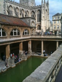 Roman baths with the cathedral in the background., Dawn - September 2009