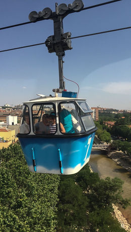 View of a passing cable car from the top , Marlene R - August 2016