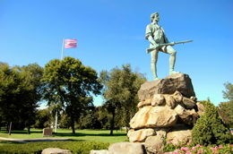 The famous statue of the Revolutionary War minuteman stands tall on Lexington Green. It is here the Revolutionary War started in 1775. - December 2011