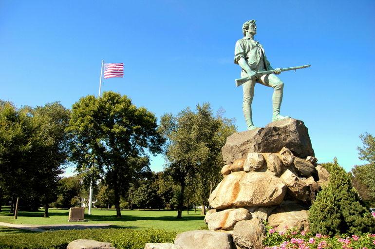 Famous statue of Revolutionary War minuteman, Lexington - Boston