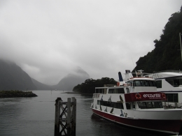 Tour boats prepare to sail at Sandfly Point, Milford Sound - May 2010