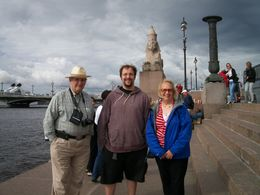 Jack, Danny and Barb Schmidt, in front of one of Amenhotep III's sphinxes, 2 of which stand on the Neva, where they've been for the past 200 years. Lita, our wonderful tour guide took the picture...., John L S - July 2014