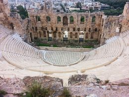 View of Theatre from part way up Acropolis. , Amy C - December 2012