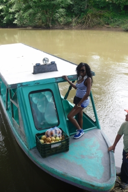 arriving to the zip line site by river boat, Shaundrea M - September 2010