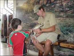 Meeting a crocodile, under the watchful eye of a trainer., Jeff - March 2008