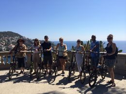 Our bike group at the top of Lou Casteu - looking out over the harbor. Beautiful. , Kim H - September 2014