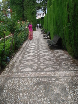 The Generalife Gardens are very nice. This picture gives you some appreciation of lovely walkways that extend throughout the gardens. , David F - August 2011