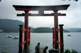 Shinto Gates in Lake Ashi, looking out at the gorgeous lake, Hwee Khim C - August 2009
