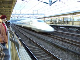 The bullet train roars through the station, Shoo R - April 2009