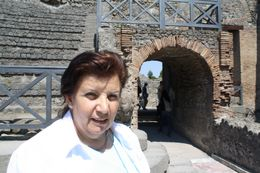 Margaret at the entrance to the arena , Alan - May 2011