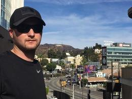 The Hollywood sign is behind Allen. It was much farther away than we though , Toni - January 2018
