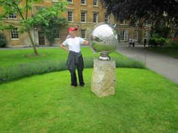 Linda admiring the globe that commemorates the first class of females at Balliol College, Oxford (early 1970's). , Arthur S - June 2014
