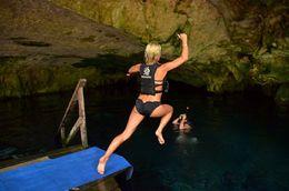 Me doing a canon ball into the Cenote. , Michelle M - June 2016