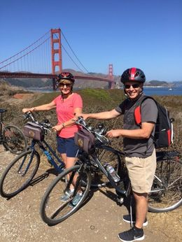 The McLeod's from Sunny Arizona enjoying the San Francisco Bike Tour into Sausalito. , Debra M - October 2015