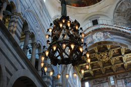 When going to Leaning Tower and in the Church we found the chandelier that sparked Galileo's interest in the pendulum and the physics behind the motion., Kelley F - July 2009