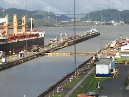 View of the Miraflores locks from the top terrace of the Miraflores building. , Navnit B - December 2014