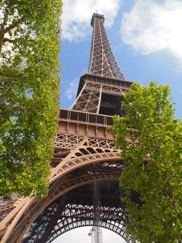 Looking up at the Eiffel Tower before we start our tour. , Sylvia H - July 2013