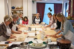 Our small group hand rolling the pici pasta noodles - July 2013