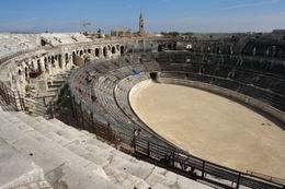 View from the top of Roman Colosseum, Nimes, France (almost 2,000 years old) - May 2011