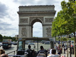Approaching the The Arc de Triomphe on the Big Bus.. Amazing monument. , Hagman M - August 2017