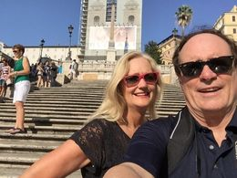 We got off the segways and took a photo on the Spanish Steps...Dal and Cinde Selfie on the Spanish Steps , Dal S - July 2015