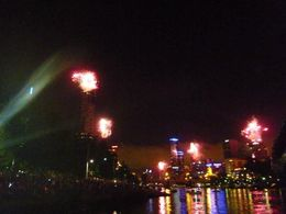 View from the boat of the Melbourne fireworks 2013 , Sarah W - January 2013