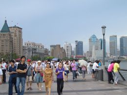 Shanghai - people walking along The Bund - November 2011