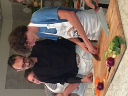My two sons learning how to use knife safely from Chef Alain. , Elana V - October 2015