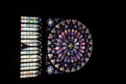 Rose stained glass window inside Notre Dame , Chris M - November 2017