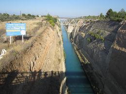 Corinth Canal from a bridge. , rovisco - November 2011