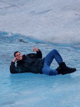 After tasting some refreshing glacier water, Tom takes a moment to chill out! , Mary Beth G - August 2016