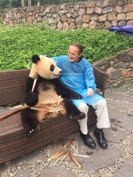 John DiLoreto conversing with the Panda about conditions in China. , Lucio D - June 2016