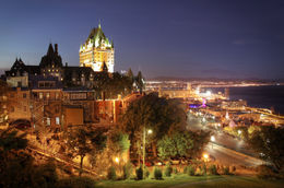 Quebec City at night with view of Chateau Frontenac Hotel - May 2011