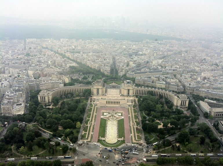Beautiful view of the Palais de Chailot from the Eiffel Tower - Paris
