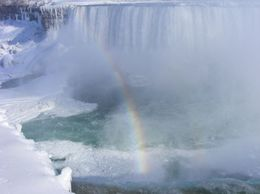 Niagara with just the begining of a rainbow, Susan H - February 2010