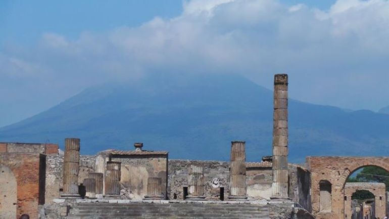 Pompeii ruins with Mt Vesuvius in the background -