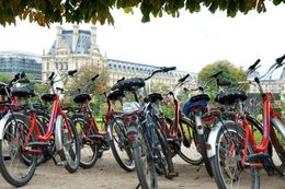 Bikes lined up while we stopped for lunch at a cafe in the Tuileries Garden. , Tara V - October 2013