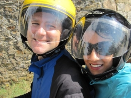 Me and my wife riding on the Vespas. They're comfy, fun, and really easy to navigate (even for two people)., Brian M - September 2010
