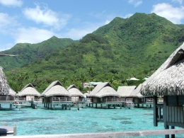 Overwater bungalows in Moorea, LC - October 2010