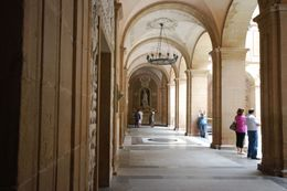 You walk through this marbled courtyard to either continue on to see the black Madonna or enter the Basilica's main entrance., Theresanne S - July 2009