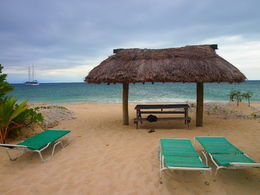 You can see the ship in the distance, and we relaxed on the small island. , Monica M - July 2014