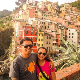 with my wife, enjoying the last stop Riomaggiore of the Cinque Terre Hiking Day Trip , Lee - September 2014