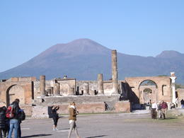 Pompeii's main square with Mount Vesuvius in the distance. , Sandra S - December 2014