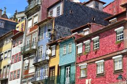 Colourful architecture surrounds Ribeira square in the heart of Porto city. , David Lally - June 2016