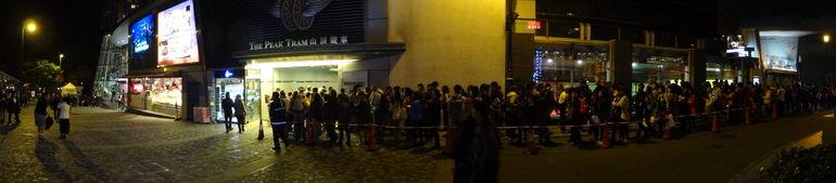 The queue for the Peak Tram return - Hong Kong