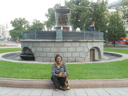 Nikiwe posing next to the fountain , Nikiwe M - August 2013