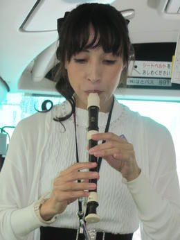 Aki playing the recorder. , Thomas W H P - January 2017