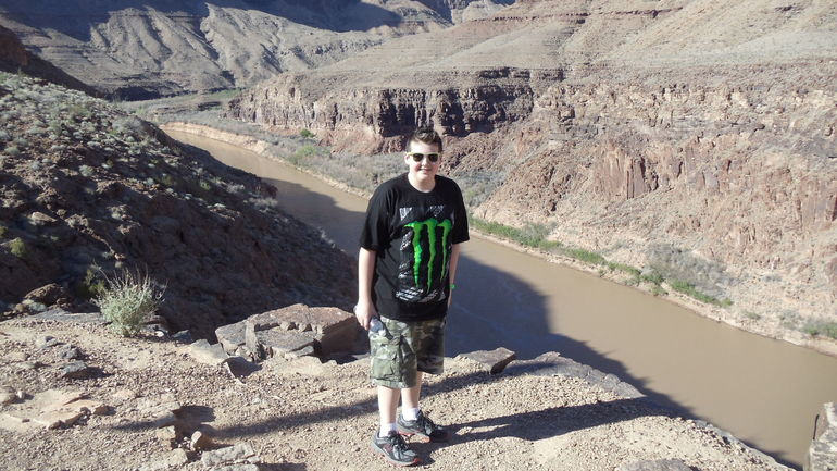 Grandson Mike at landing site bottom of Canyon. - Las Vegas